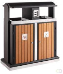 Buitenafvalbak afvalscheiding 2x50, EKO houtlook