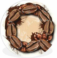 WallCircle Wandcirkel Letter Q illustratie - Een illustratie van de letter Q van koffiebonen - ⌀ 60 cm - rond schilderij - fotoprint op kunststof (forex) muurcirkel / wooncirkel / (wanddecoratie)