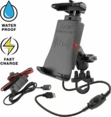 Zwarte RAM Mount Tough-Charge™ Quick-Grip™ Waterproof Wireless Charging Motorcycle Mount