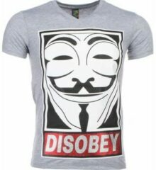 Grijze T-shirt Korte Mouw Mascherano T-shirt - Anonymous Disobey Print