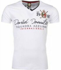 David Copper Italiaanse T-shirt - Korte Mouwen Heren - Borduur Squadra Azzura - Wit Heren T-shirt M