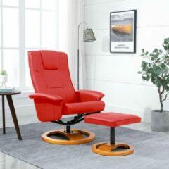 Merkloos / Sans marque Fauteuil Rood MET Voetenbankje Kunstleer / Loungestoel / Lounge stoel / Relax stoel / Chill stoel / Lounge Bankje / Lounge Fauteil