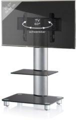 TV-Standfuß LED Ständer Fernseh Standfuss Alu Glas Universal 'Bilano Zwischenboden' Universell VESA VCM Schwarzglas