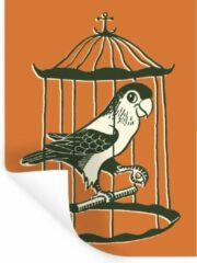 StickerSnake Muursticker Papegaai illustratie - Een illustratie van een papegaai in een kooi - 90x120 cm - zelfklevend plakfolie - herpositioneerbare muur sticker