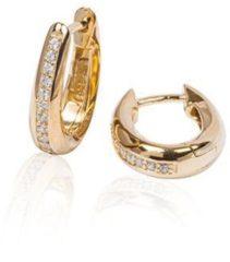 Best Basics Zilveren gold-plated klapcreolen - ovaal 13 mm - zirkonia - ronde buis 107.0325.15