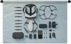 1001Tapestries Wandkleed Knolling - Apparaten - Knolling lay-out van drone apparaten Wandkleed katoen 150x100 cm - Wandtapijt met foto