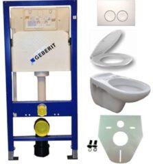 Douche Concurrent Toiletset Hangend 100-5 Geberit UP100 Inbouwreservoir Glans Wit Wandcloset Toiletbril Delta-21 Bedieningsplaat Wit