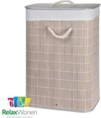 Creme witte Relaxwonen - Wasmand - Mand - Bamboe - Opvouwbaar - Inclusief Deksel - Uitneembare binnenhoes - Cremé - 60x40x30 cm