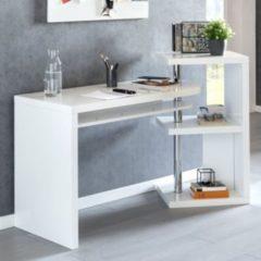 Wohnling Schreibtisch MARCIE 145x50x94 cm Bürotisch mit Regal Weiß Hochglanz Winkelschreibtisch Schwenkbar Massiv Computertisch mit Ablage Chefschr