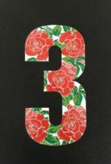 Rode Huisnummer sticker Rozen 3, Rozen sticker nr. 3, huisnummer cijfers - afvalbak nummers- kliko cijfer drie- container nummers- coverart- plakcijfers- rozen huisnummer- brievenbus nummers, CoverArt