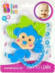 BamBam Bam Bam - Baby Peuter Bijtring Siliconen - Aapje Dier - Blauw 1m+ - 3m+