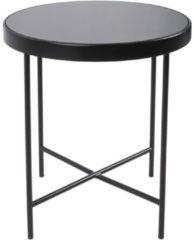 Leitmotiv Bijzettafel Glad mat zwart, zwart glazen blad