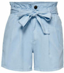 ONLY high waist loose fit short ONLPIPI lichtblauw