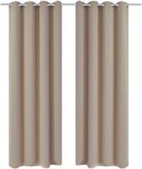 Creme witte VidaXL Blackout Gordijnen met metalen ringen 135 x 245 cm 2 stuks (creme)
