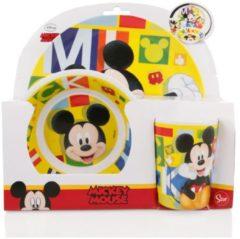 Stor S.L Mickey Mouse Melamine ontbijtset /eetset 3 delig