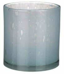 Mica Decorations Vaas Estelle rond cilinder recycled glas lichtblauw - H 18.5 x Ø 17 cm - Bloemenvaas - bloempot
