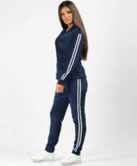 AWR Premium Dames Trainingspak / Tracksuit / Joggingspak   Sport Kleding   Blauw-Wit - S