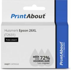 PrintAbout Huismerk Epson 26XL (T2631) Inktcartridge Foto-zwart Hoge capaciteit