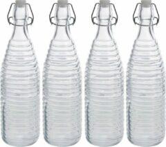 Zeller 4x Glazen flessen transparant strepen met beugeldop 1000 ml - Keukenbenodigdheden - Woondecoratie - Tafel dekken - Koude dranken serveren/bewaren - Olie/azijn flessen - Decoratie flessen