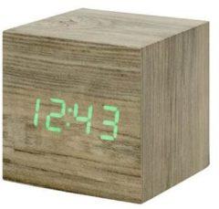 Grijze Gingko Cube Click Clock wekker ash