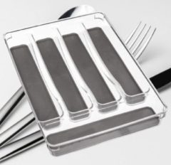 Grijze Decopatent® Bestekbak 5 Vaks - Besteklade Organizer - Anti Slip Inleg - Bestek Opbergbak Bestekcassette - Transparant 23x32.5x4.5