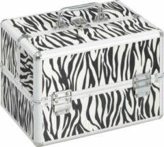 VidaXL Make-up koffer 22x30x21 cm aluminium zebrastreep