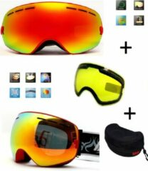 Improducts Ski bril met box en EXTRA lens Smoke red frame Rood F type 1 Cat. 0 tot 4 - ☀/☁