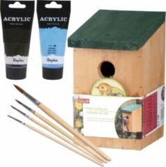Lifetime Houten vogelhuisje/nestkastje 22 cm - in het zwart/lichtblauw maken - Dhz schilderen pakket - 2x tubes verf en kwasten