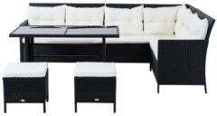Outsunny 18 tlg. Polyrattan Sitzgruppe Gartenset Sitzgarnitur Gartenset Sofagarnitur Gartenmöbel Lounge-Set