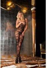 Zwarte Rene Rofe Lingerie Strapped up sheer bodystocking