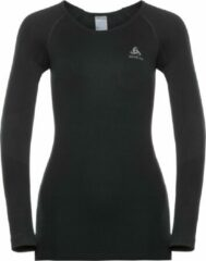 Zwarte Odlo Suw Top Crew Neck L/S Performance Warm Dames Sportshirt - Black - XL