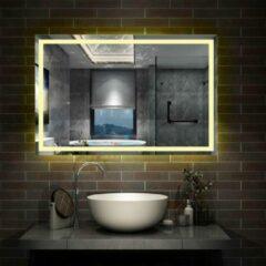 Aica Sanitair LED rechthoekige badkamerspiegel 120x80 cm,smalle licht banen rondom wandspiegel,enkele touch sensor schakelaar,warm wit,anti-condens