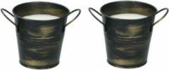 Goudkleurige Merkloos / Sans marque 2x Citronella tuin kaarsen in emmer goud met oldlook10 cm - Anti muggen/insecten artikelen