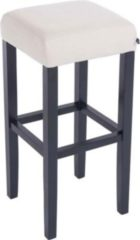 CLP Holz-Barhocker JUDY mit hochwertiger Polsterung und pflegeleichtem Stoffbezug I Quadratischer Hocker mit Holzgestell und Fußstütze