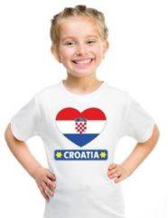 Shoppartners Kroatie kinder t-shirt met Kroatische vlag in hart wit jongens en meisjes M (134-140)