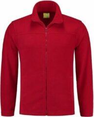 L&S Rood fleece vest met rits voor volwassenen L (40/52)