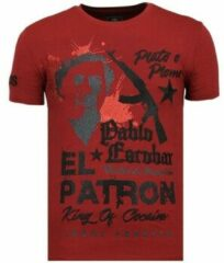 Rode Local Fanatic El Patron Pablo - Rhinestone T-shirt - Bordeaux - Maten: XL