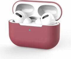 Bordeauxrode Merkloos / Sans marque Apple AirPods Pro Hoesje - Rood - Bordeaux - Siliconen - Case - Cover - Soft case