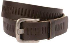 Timbelt 4cm geperforeerde riem - bruin - 100% leder - Maat 105 - Totale lengte riem 120 cm