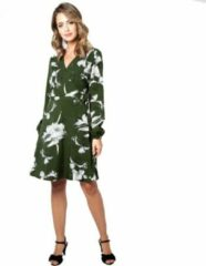 Voodoo Vixen Lange jurk -2XL- Molly bloemen wikkel Groen/Wit