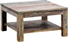 CLP Massiver Holz-Couchtisch ANTON, 80x80 cm, recyceltes Teakholz, Höhe 45 cm