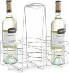Zilver wijnflessen rek/wijnrek tafelmodel voor 6 flessen 31 cm - Zeller - Keukenbenodigdheden - Woonaccessoires/decoratie - Wijnflesrekken/wijnflessenrekken/wijnrekken - Rek/houder voor wijnflessen
