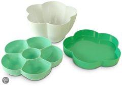 Groene Cookut Flor Multischaal Serveerschaal - Melamine - Met deksel - 25 cm - Groen