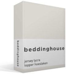 Witte Beddinghouse Jersey Lycra Topper Hoeslaken - 95% Gebreide Katoen - 5% Lycra - Lits-jumeaux (180/200x200/220 Cm) - Ivoor