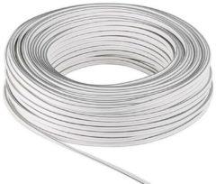 Witte Luidspreker kabel 2x 0,75 mm / wit (koper) - 50 meter