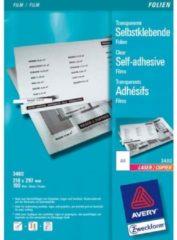 Avery-Zweckform 3480 Zelfklevende folie DIN A4 Laser (kleur), Laser (zwart/wit), Kopiëren (kleur), Kopiëren (zwart/wit) Transparant 100 stuk(s)