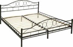 Zwarte Tectake Bedframe metalen bed frame met lattenbodem 200*180 cm 401724