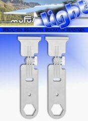 MUFU LIGHT (KLEUR GRIJS) 1 SET VAN 2 OPHANGHAKEN VOOR AAN DE LUIFEL VAN CAMPER, CARAVAN, CAMPERBUS, ETC.