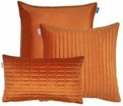 Kussoo Kussen fluweel oranje set van 3 sierkussens