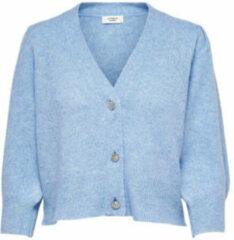 Blauwe Jacqueline de Yong Gebreid Vest 3/4-mouw